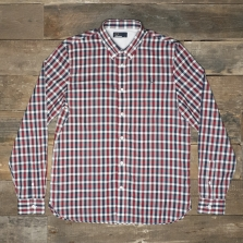 Fred Perry M8290 Herringbone Gingham Shirt Deep Red