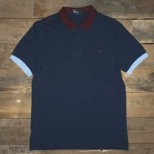 Fred Perry M8231 Colour Block Pique Shirt Carbon Blue