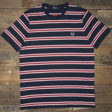 Fred Perry M9562 Bomber Stripe T Shirt Carbon Blue