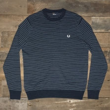 Fred Perry K9509 Textured Yarn Striped Crew 395 Dark Carbon