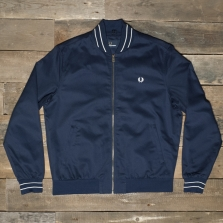 Fred Perry J7238 Cotton Bomber Jacket 266 Carbon Blue