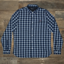 Fred Perry M8290 Herringbone Gingham Shirt 111 Mid Blue