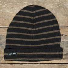 ST. JAMES Bonnet Rayes Noir Taupe