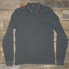 Fred Perry M3636 Ls Twin Tipped Shirt 977 Graphite Marl