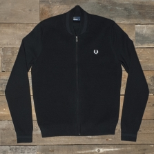 Fred Perry K1509 Bomber Neck Zip Thru Cardigan 102 Black
