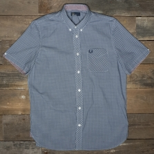 Fred Perry M6378 Classic Gingham Ss Shirt 126 Medieval Blue
