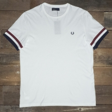 Fred Perry M1533 Striped Cuff T Shirt 100 White