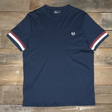 Fred Perry M1533 Striped Cuff T Shirt 266 Carbon Blue