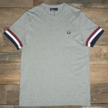 Fred Perry M1533 Striped Cuff T Shirt 420 Steel Marl