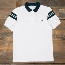 Fred Perry M1562 Bomber Sleeve Pique Shirt 100 White