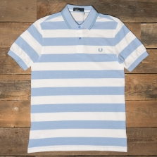 Fred Perry M1587 Striped Pique Shirt 146 Light Smoke