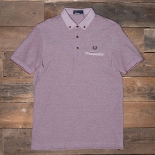 Fred Perry M1575 Woven Trim Pique Shirt D60 Rosewood