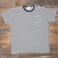 LEFTFIELD NYC Hemp Pocket T Shirt White Navy