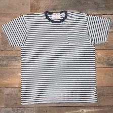 LEFTFIELD NYC Hemp Pocket T Shirt White Navy