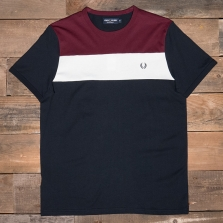 Fred Perry M2544 Colour Block Panel T-shirt 608 Navy