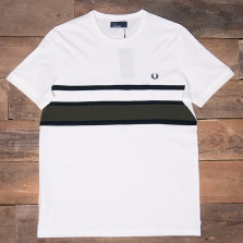 Fred Perry M2597 Bomber Stripe Insert T 129 Snow White