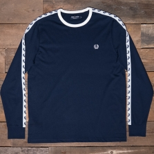 Fred Perry M2604 Ls Taped Ringer T Shirt 266 Carbon Blue