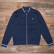 Fred Perry J2598 Bomber Neck Sweat 266 Carbon Blue