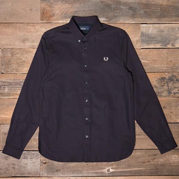 Fred Perry – M2500 Three-colour Basketweave Shirt 799 Mahogany