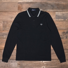Fred Perry M3636 Ls Twin Tipped Shirt 524 Black Porcelain