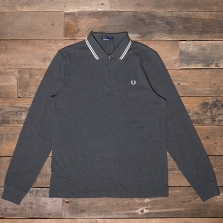 Fred Perry M3636 Ls Twin Tipped Shirt E91 Graphite Marl