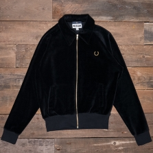 Fred Perry Sj3007 Miles Kane Velour Track Jacket 102 Black