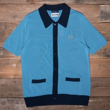Fred Perry Sk3009 Miles Kane Button Knit Shirt F41 Shaded Blue