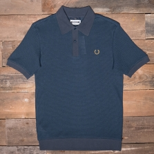 Fred Perry Sm3011 Miles Kane Mesh Pique Shirt 738 Dark Airforce