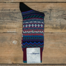 BURLINGTON 20536 Fair Isle Socks 8005 Burgundy