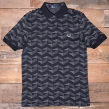 Fred Perry M3508 Graphic Jacquard Pique Shirt 102 Black