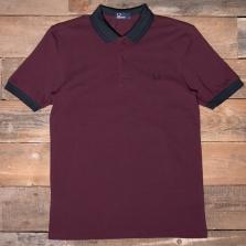 Fred Perry M3504 Matt Tipped Collar Pique Shirt 799 Mahogany
