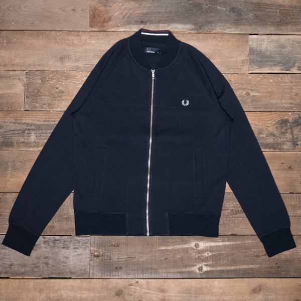 Fred Perry – J3527 Panelled Bomber Neck Sweat 608 Navy