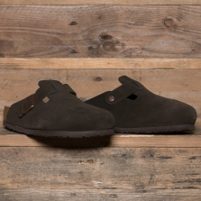 BIRKENSTOCK 660461 Boston Suede Soft Footbed Mocha