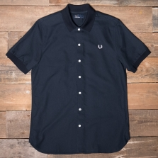 Fred Perry M3550 Knitted Collar Oxford Shirt 608 Navy