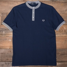 Fred Perry M3592 Henley Collar Pique Shirt 266 Carbon Blue