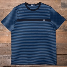 Fred Perry M3568 Fine Stripe T Shirt 608 Navy