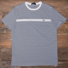 Fred Perry M3568 Fine Stripe T Shirt 129 Snow White