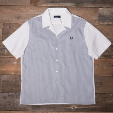 Fred Perry M3548 Stripe Panel Shirt 129 Snow White