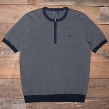 Fred Perry K3522 Zip Neck Knitted Crew Neck 948 Charcoal Marl