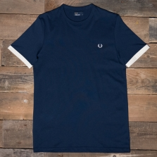 Fred Perry M3519 Ringer T Shirt 395 Dark Carbon