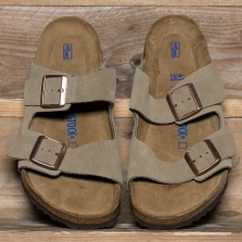 BIRKENSTOCK 51301 Arizona Suede Soft Footbed Taupe