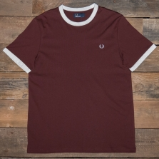Fred Perry M3519 Contrast Ringer T Shirt G24 Stadium Red