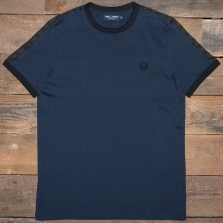 Fred Perry M3582 Tonal Taped Ringer T Shirt 875 Washed Navy
