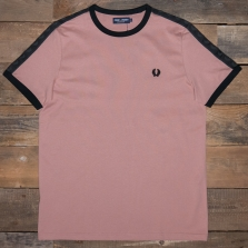 Fred Perry M3582 Tonal Taped Ringer T Shirt G23 Grey Pink