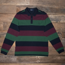 Fred Perry M5509 Enlarged Stripe Pique Shirt 608 Navy