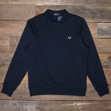 Fred Perry M5508 Fleeceback Ls Pique Shirt 608 Navy