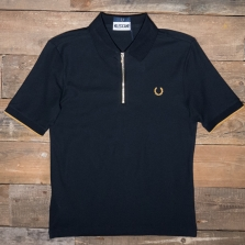 Fred Perry Sm5153 Miles Kane Zip Detail Pique Shirt 102 Black