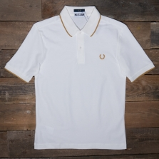 Fred Perry Sm5156 Miles Kane Fine Tipped Pique Shirt 129 Snow White