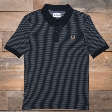 Fred Perry Sm5158 Miles Kane Jacquard Pique Shirt 102 Black
