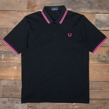 Fred Perry M102 Made In Japan Pique Shirt H63 Black  Bright Pink